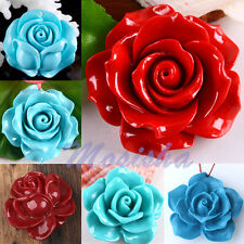 Man-Made Coral Carved Camellia Flower Focal Charm Gemstone Pendant Jewelry Gift