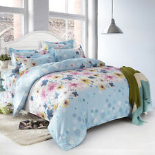 Blue Flower Dot Double Queen King Size Bed Set Pillowcases Quilt Duvet Cover