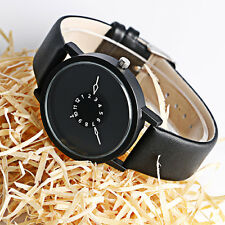 PAIDU Casual Turntable Design Leather Band Analog Quartz Wrist Watch Unisex Gift