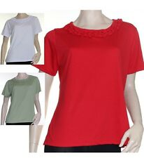 T Shirt Blouse Size 10 12 14 16 Red White Olive ELEGANT Feature Neckline Tee