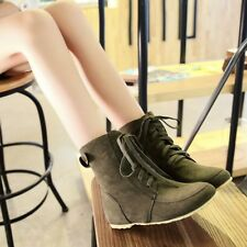 Womens casual flat heel round toe cross strappy faux suede ankle boots shoes