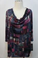 Elementz Woman Purple/Black/Blue Silver Shimmering Cowl Neck Blouse Sz 2X
