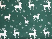 CHRISTMAS Green and white Reindeer polycotton material fabric for craft bunting