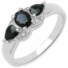 0.92 CTW Genuine Natural Blue Sapphire & White Diamond .925 Sterling Silver Ring