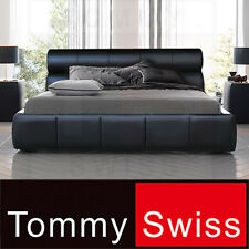 TOMMY SWISS: KING & QUEEN Size Deluxe PU Leather Designer Bed Frame - B301 Black