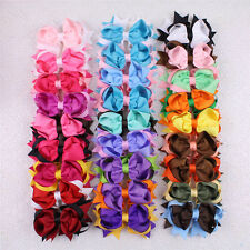Lot 50/100/200pc 4in Girl Infant Two Tone Mixed Ribbon Hair Bows Clips 2784-P