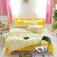Yellow Crown Single Double Queen King Size Bed Set Pillowcases Quilt Duvet Cover