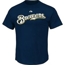 Milwaukee Brewers MLB Majestic Mens Wordmark T Shirt Navy Blue Big Sizes