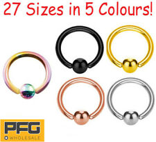 New 316L Steel Captive Ball Closure Ring Ear Nose Lip Nipple Hoop Body Piercing