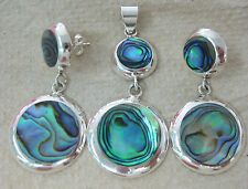 925 STERLING SILVER PAUA SHELL Abalone Round Drop Earrings & Pendant SUMMER SET