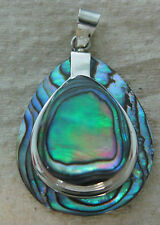 925 STERLING SILVER Paua Shell Abalone New Zealand Islander Teardrop SET ear&pen