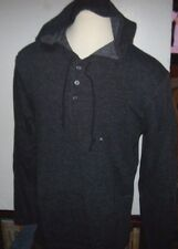 New Quiksilver heather black long sleeve hoodie pull over shirt jacket XL  or M