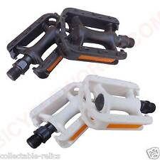 "Childrens Kids BMX Bicycle Pedals 12 16"" Juvenile Plastic Flat Reflectors Bike"