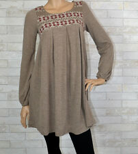 Chic Embroidery Knit Sweater Dress - Easel - Taupe S-M-L