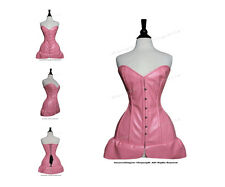 Full Steel Boned Heavy Lacing PVC Overbust Shaper Corset Skirt Set #H8461-B-PVC