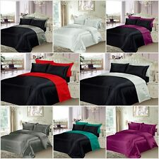 6 PIECE SATIN BED SET 4 PILLOWCASES + DUVET COVER + FITTED SHEET REVERSIBLE