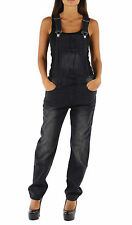 Ladies Faded Black Denim Bib Overalls Womens jean Playsuit Onesie Jumpsuit