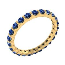 Natural Round Blue Sapphire 14k Yellow Gold Full-Eternity Band Ring