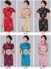 Popular Chinese Women's Dragon&Phoenix Silk Cheongsam Mini Evening Dress Qipao