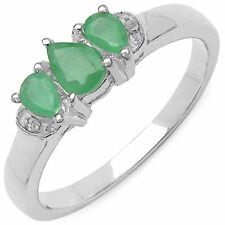 Nice 0.61 CTW Genuine Natural Emerald & White Diamond .925 Sterling Silver Ring