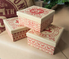 Vintage Paper Craft Christmas Gift Box Do not Open until the 25th Wrap ty