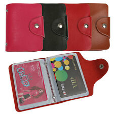 New 26 Cards Genuine Leather Credit ID Business Card Case Holder Pocket Wallet