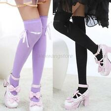 Hot Women Sexy Cotton Bow Thigh-High Over Knee Long Stocking Hosiery Socks A85