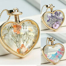 Women's Love Heart Charm Dried Flower Pendant Golden Chain Necklace Jewelry Gift