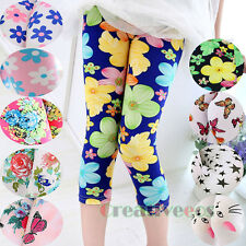 Fashion Kids Girls 3/4 Length Cropped Basic Leggings Casual Short Pants 6 Style