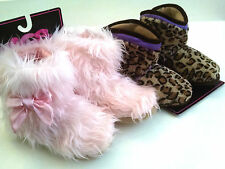 KICS Toddler Slippers Pink Faux Fur Booties Leopard Fleece Non Skid Soles S M L