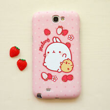 Cute Molang Phone Hard Back Skin Case Cover for Smart Phone - Pink strawberry