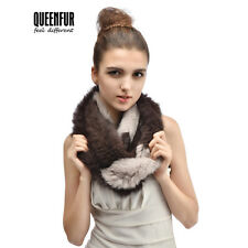 Queenfur Real Rex Rabbit Fur Scarf Natural Rabbit Fur Wrap Multi-Colored  Shawl