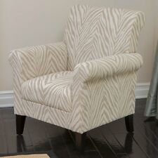 Bigalow Zebra Fabric Club Chair - Beige