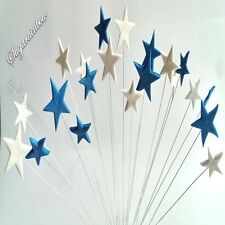 20 Edible sugar stars on wires blue white cake cupcake toppers