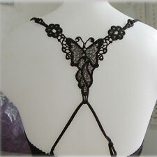 Trendy Women Underwear Butterfly Rhinestone Black Bra Shoulder Cross Straps