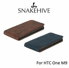 Snakehive® Vintage Nubuck Leather Flip Case Cover for HTC One M9