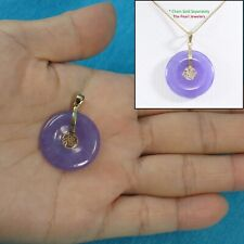 14k Solid Yellow Gold BLESSING on a Tablet Disc Lavender Jade Pendant 1.25""