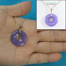"""14k Solid Yellow Gold BLESSING on a Tablet Disc Lavender Jade Pendant 1.25"""" TPJ"""