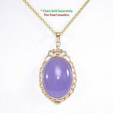 14k Yellow Solid Gold; 18mm by 25mm Oval Cabochon Lavender Jade Pendant