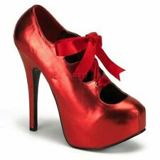 Bordello Teeze-09 Concealed Platform Pump Red Ribbon Tie Heel
