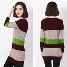 Women's  Color Splicing Long Sleeve Cashmere Knitting Striped Basic Sweater Tops