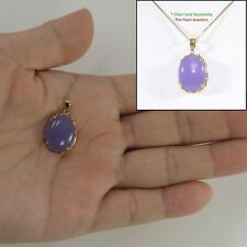 14k Solid Yellow Gold a 12mm x 16mm Cabochon Lavender Jade Beautiful Pendant TPJ