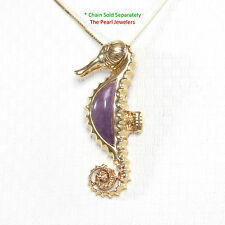 14k Solid Yellow Gold Seahorse Design Cabochon Lavender Jade Pendant 1.25""