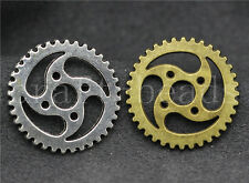 Free shipping 6/20/100pcs Antique Silver Gear Jewelry Charms Pendant DIY 23mm