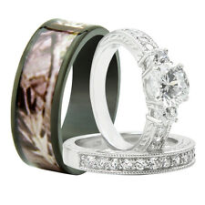 His & Hers 3PCS Titanium Camo 925 Sterling Silver Engagement Wedding Rings Set