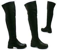WOMENS BLACK LEATHER STYLE ZIP STRETCH OVER THE KNEE HIGH BOOTS SHOES SIZE 3-8