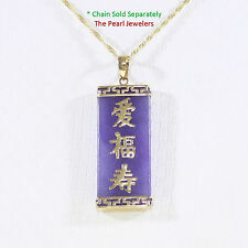 14k Yellow Gold Triple Lucky & Greek Key Design 13x30mm Lavender Jade Pendant