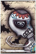 Catching Bats Fine Art Print by Abril Andrade Skull Skeleton