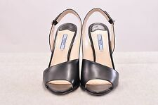 NIB PRADA CALZ DONNA OPEN TOE BLACK MATTE LEATHER HEELS MADE IN ITALY