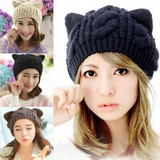 Women Winter Warm Beanie Devil Horns Cat Ear Crochet Braided Knit Ski Cap Hat 45